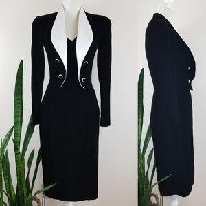 VTG 80's Morton Myles for The Warrens Tuxedo Dress